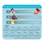 Hard Surface Calendar Mouse Pads with Horizontal Calendar